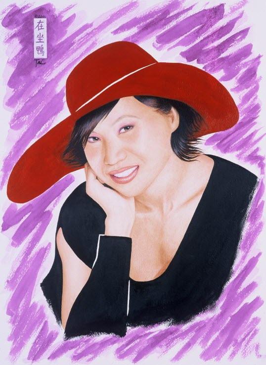 Artist Hangout 34 - Girl in a Red Hat I (2001 Nov) - (acrylic & pastel) - By Artist Tai Zen