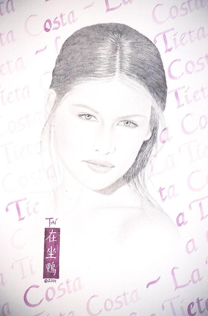 Artist Hangout 36 - Laetitia Casta (2001 Nov) (graphite & watercolor) - By Artist Tai Zen