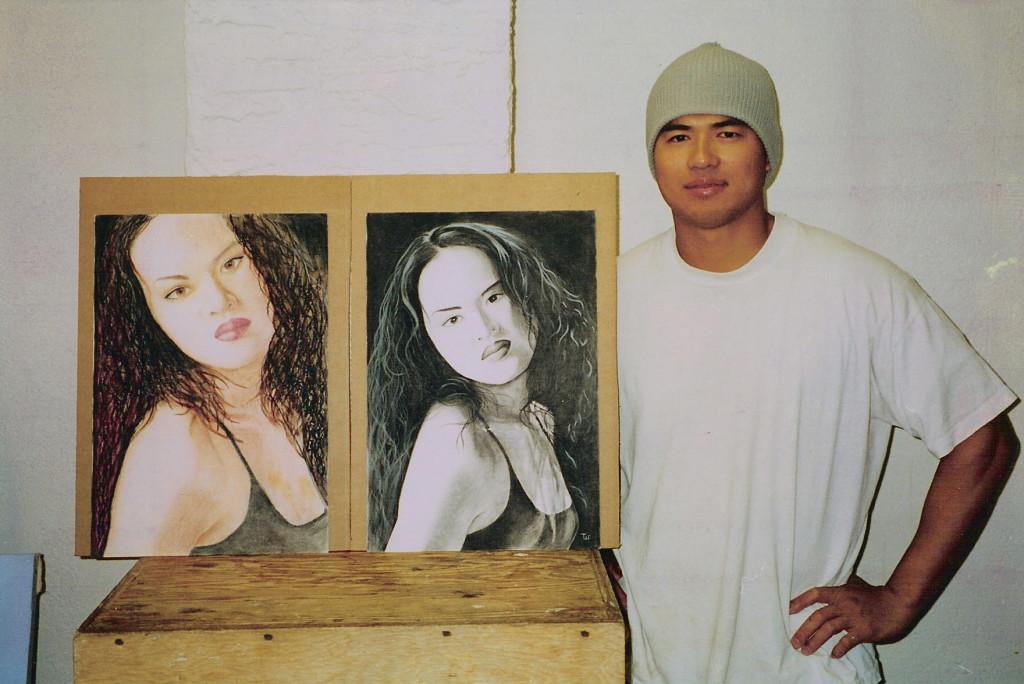 Artist Hangout 43 - Hong in Oil Pastel & Charcoal (2000) - By Artist Tai Zen