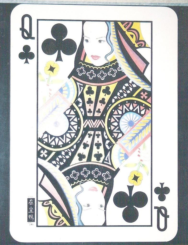 Artist Hangout 46 - Queen of Clubs (2001) (color pencil & ink) - By Artist Tai Zen