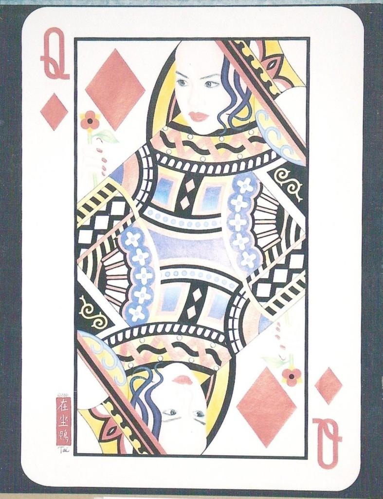 Artist Hangout 49 - Queen of Diamonds (2001) (color pencil & ink) - By Artist Tai Zen