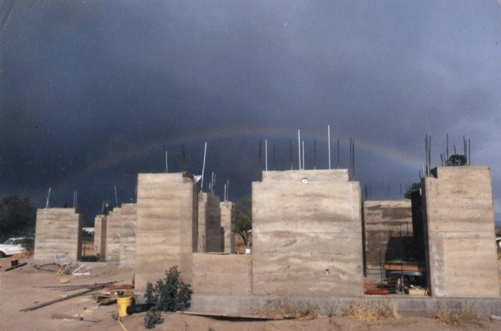 Artist Hangout - Rammed Earth House Construction 14 - Completed Rammed Earth Walls