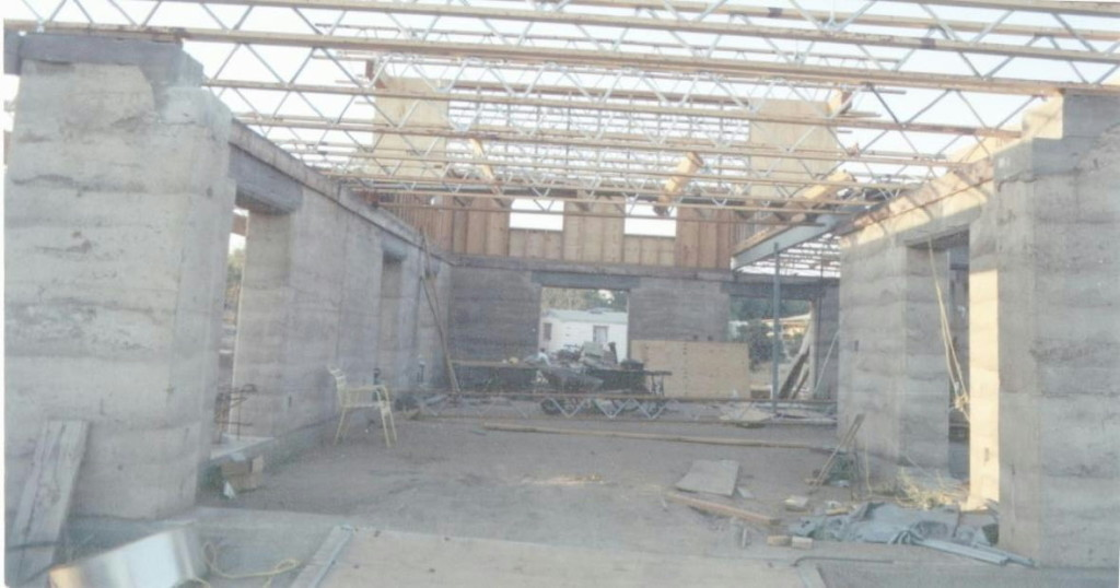 Artist Hangout - Rammed Earth House Construction 24 - Roof Trusses