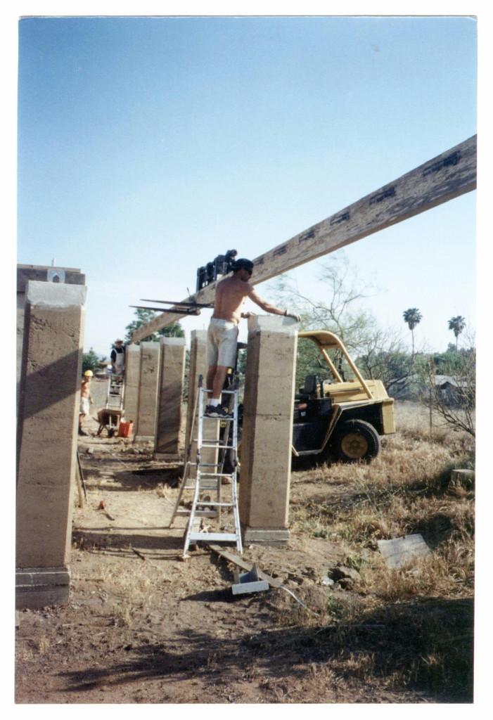 Artist Hangout - Rammed Earth House Construction 25 - Wooden Beams