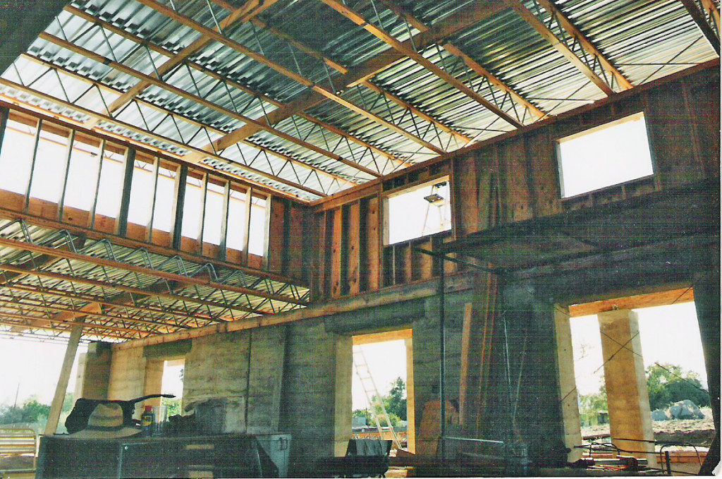 Artist Hangout - Rammed Earth House Construction 29 - Roof Trusses