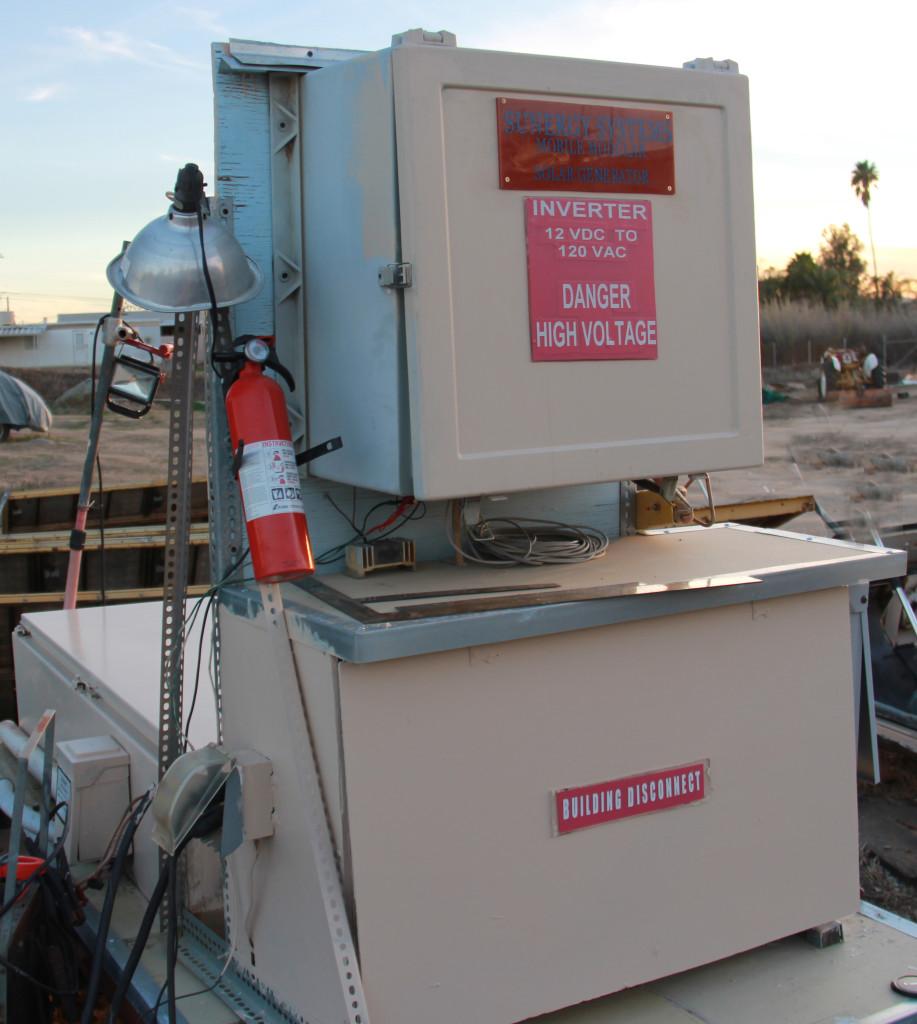 Artist Hangout - Rammed Earth House Construction 56 - Solar Power Inverter Box